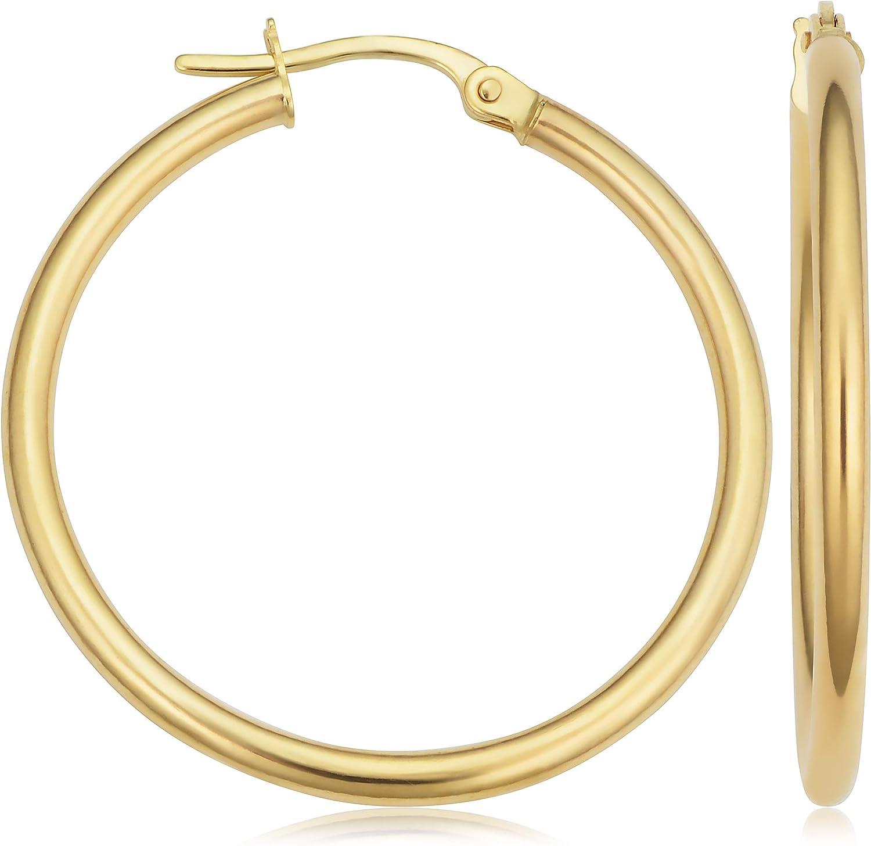 KoolJewelry 10k Yellow Gold Hoop Earrings (20 mm, 25mm, 30 mm, 35 mm, 45 mm, 70 mm or 90 mm)