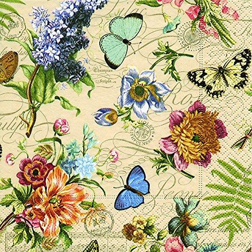 20 Servietten Vintage Summer – Sommerszene Vintage/Blumen/Schmetterlinge 33x33cm