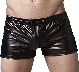Men's Imitation Leather Swim Trunk Boxer Shorts