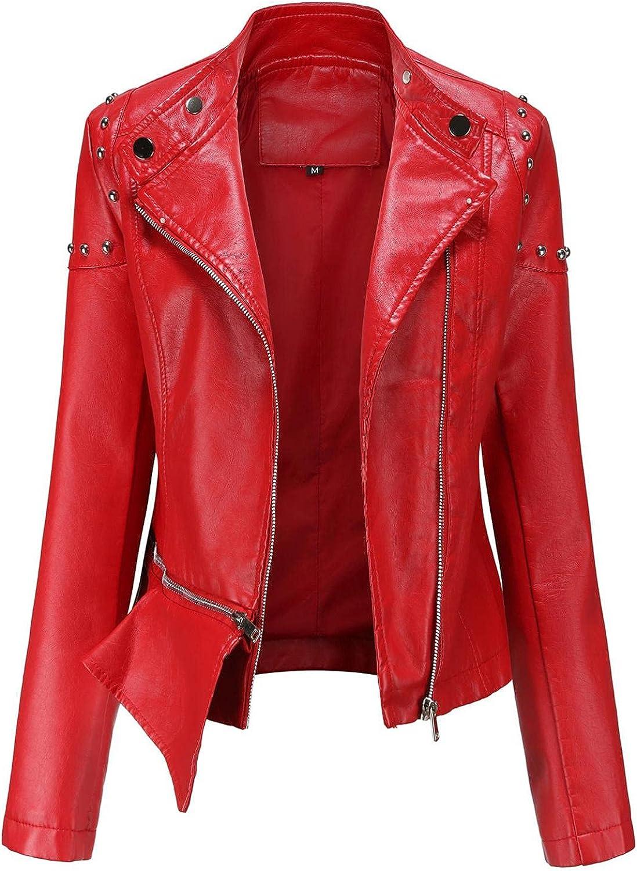SANGNI Women Sweatshirts and Hoodies Women Zipper Leather Short Outwear Biker Basic Motorcycle Leather Jacket Coat J599