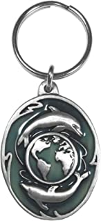 Siskiyou Automotive KR224E Metal Key Chain (Dolphins and Earth Enameled Details)