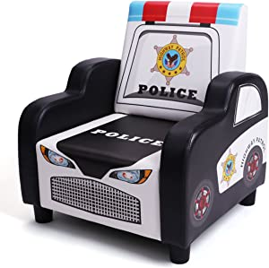 "BOCCA Children's Arm Chair,16.53"" L x 16.53"" W x 18.5"" H Ideal for Children 3 to 7 Age, Black PVC Police Car Shape Kid's Sofa"