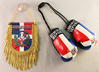 Dominican Republic - Boxing Glove and Fringed Mini Banner (Shield) Combo