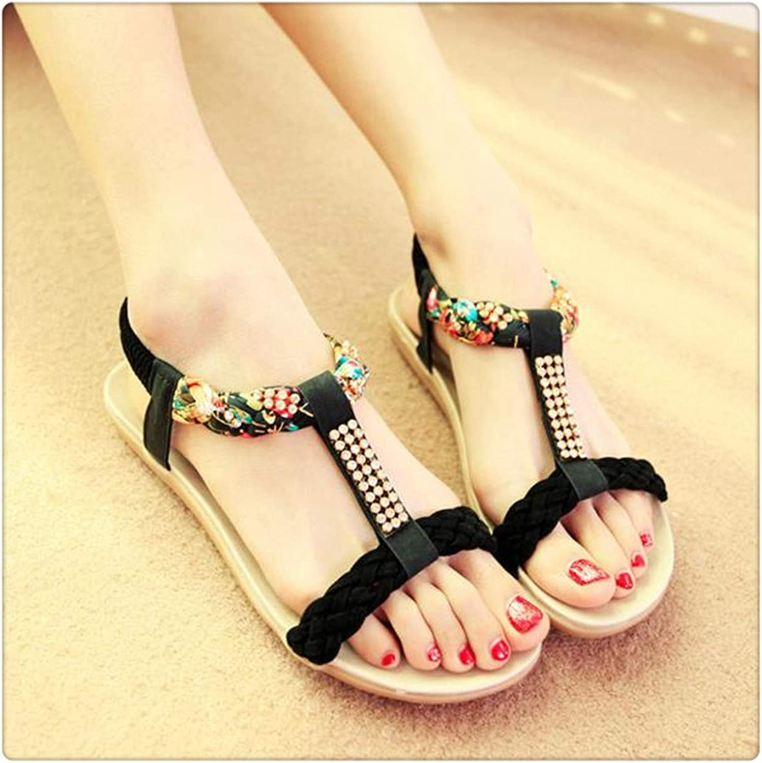 Msanlixian Summer Women Bohemia Sandals Women Flats shoes Fashion Beach Gladiator Sandals Women Footwear Ladies Casual shoes New BT565 Black 8