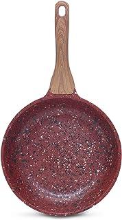 DECO EXPRESS Sartén Antiadherente de Cobre con Revestimiento de Piedra Mango Efecto de Madera 20cm
