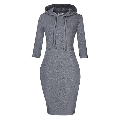 503bc970e0f MISSKY Women Pullover Stripe Pocket Keen Length Slim Sweatshirt Causal  Hoodie Dress