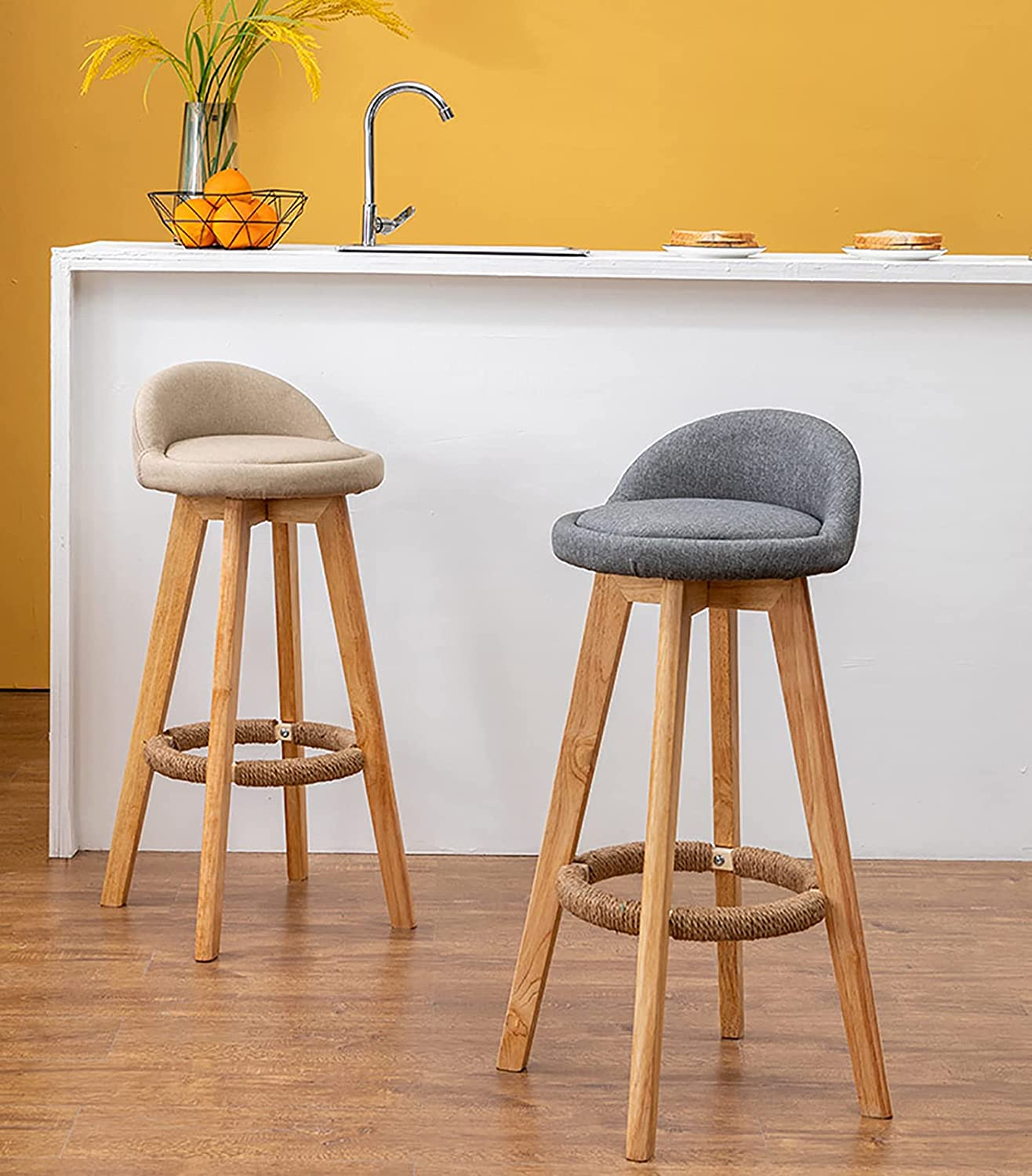 Rotating High Stool Credence Backrest Latest item Bar Chair Nordic Front Wood Solid D