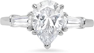 2.5 ct Pear Baguette cut 3 stone Solitaire with Accent Best Quality Moissanite Ideal VVS1 D & Simulated Diamond Engagement Promise Statement Anniversary Bridal Wedding Ring Solid 14k White Gold