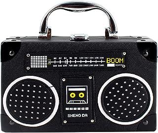 Vintage Radio Clutch Handbag Leather Top Handle Crossbody Shoulder Bag