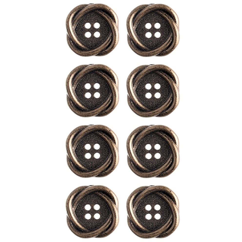 Mibo ABS Metal Plated Interlocking Oval Ring Shape 4 Hole Antique Brass Button 22 mm 8 Pack