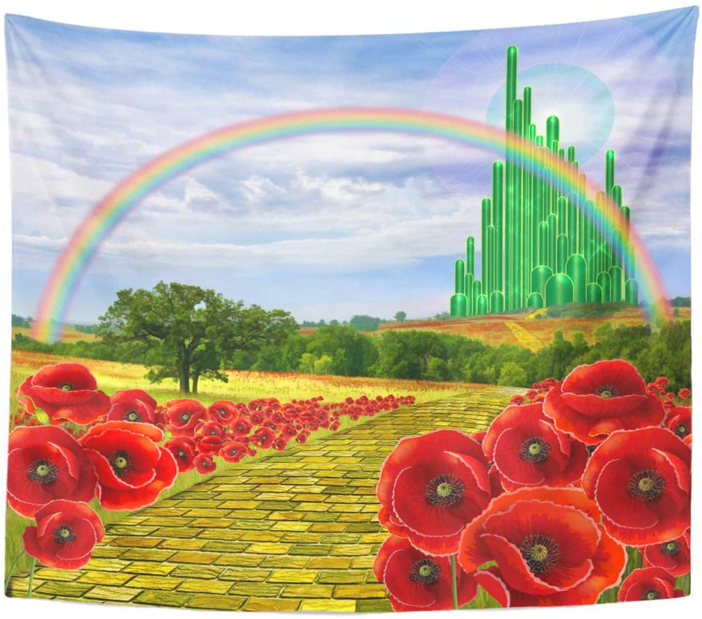 Emvency Tapestry Poppies discount Sales for sale Field Yellow Leading Brick to Road the