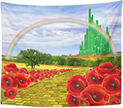 Emvency Tapestry Poppies Field Yellow Brick Road Leading to The Oz Emerald City Flowers Follow Home Decor Wall Hanging for Living Room Bedroom Dorm 60x80 Inches