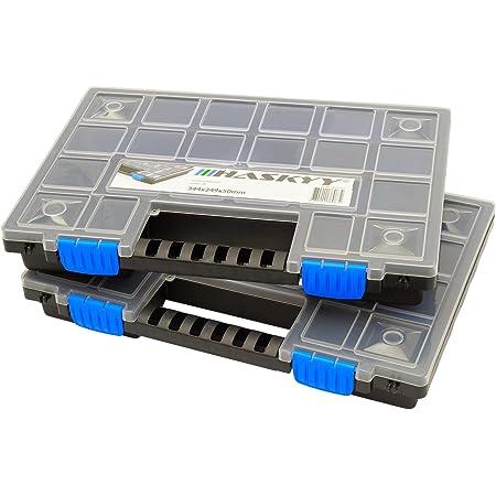 2 mallettes de rangement XL compartimentées et empilables 345x249x50 mm I armoire petites pièces I boîte à vis I casiers de rangement I coffret assortiment