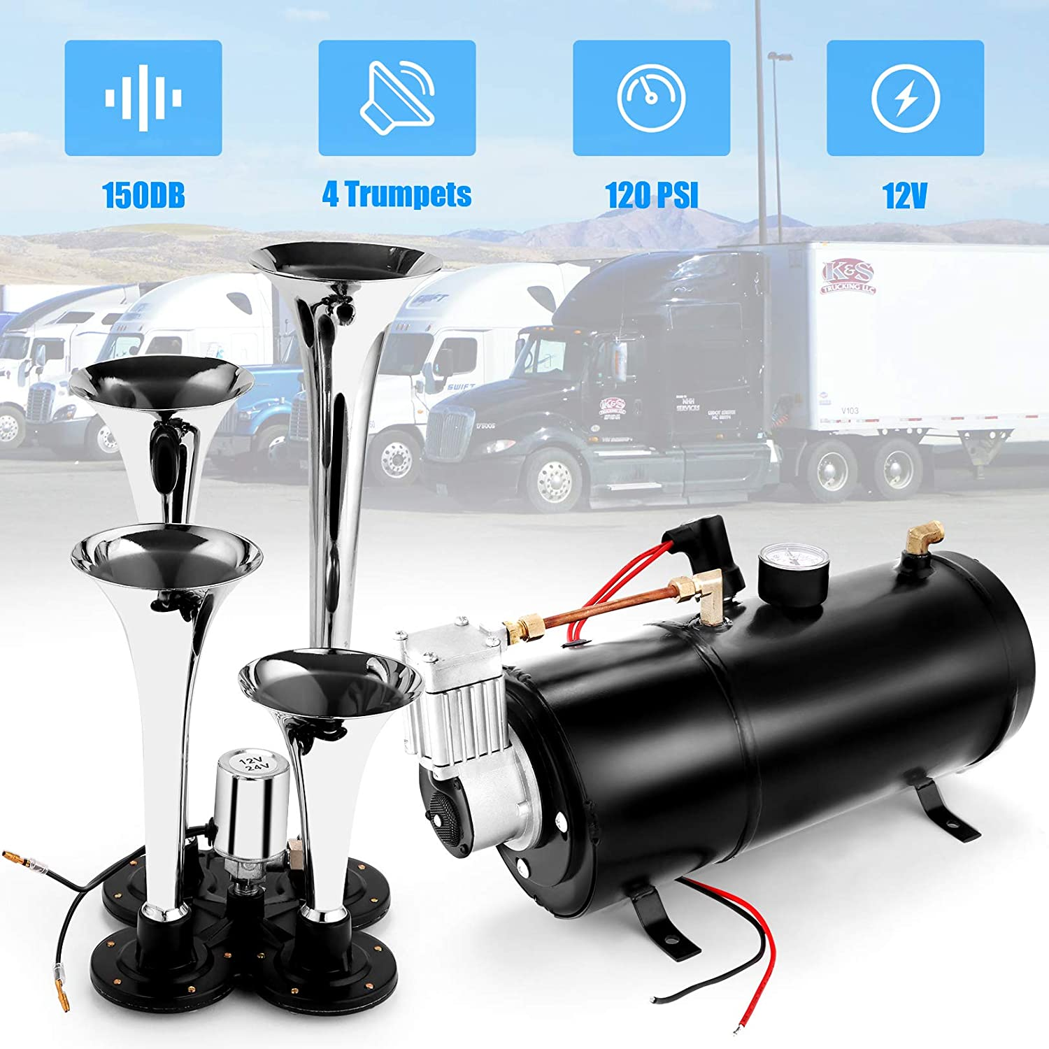 Truck 4 Trumpet Train Vehicle Air Horn with 120PSI Air Compressor for All Kinds of Vehicle 12V 150DB Car Air Horn Kit Black Car or SUV