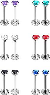 6 Paia Cubico Zirconia Orecchio a Bottone 16 Gauge Orecchini in Acciaio Inox con Posteriore Vite Piatta per Cartilagine Tr...
