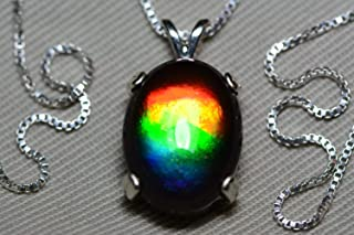 Rainbow Ammolite Necklace, Sterling Silver, 16x12mm Pendant, Alberta Jewelry, Wood Gift Box, Real Natural Genuine Ammolite Jewellery T31