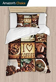 PRUNUSHOME Luxury Bedding Set Coffee Concept Collage Breathable Set California King