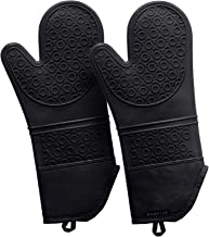 Rorecay 15 Inches Silicone Oven Mits: 500 F Heat Resistant Kitchen Mittens Extra Long Oven Mitts Non Slip Pot Holders Flexible Potholders for Cooking Baking