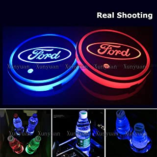 Xunyuan 2pcs LED Car Logo Cup Holder Lights Coaster for Ford USB Charging 7 Colors Auto Luminescent Cup Pad LED Interior Atmosphere Lamp Decoration Lights Accessories(Ford)