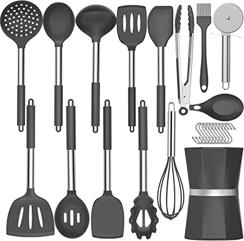 high quality 26 pcs Kitchen Cooking Utensil Set, Umite Chef Silicone Kitchen Utensils high quality with Stainless Steel Handle, Heat Resistant Kitchen Spatula Set high quality for Non-stick Cookware, Best Kitchen Gadget Tools Set - Grey outlet online sale