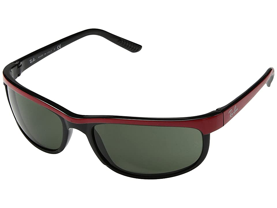 Ray-Ban RB2027 Predator 2 (Top Red on Black/Green) Sport Sunglasses