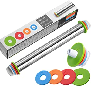 Rolling Pin Stainless Steel Thickness Rings Adjustable Rolling Pins for Baking, Pasta, Pizza, Pie, Cookies 17inch