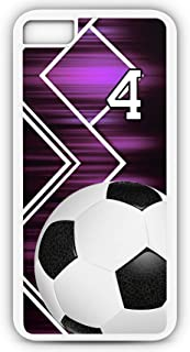 iPhone 7 Case Soccer SC053Z Choice of Any Personalized Name or Number Tough Phone Case by TYD Designs in White Plastic and Black Rubber with Team Jersey Number 4