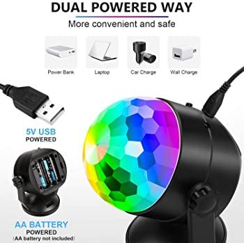 Portable Sound Activated Party Lights for Outdoor and Indoor, Battery Powered/USB Plug in, Dj Lighting, RBG Disco Bal...