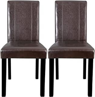 Moon Daughter Durable Wood Legs and Brown PU Chair Dining Room Set of 2 pcs