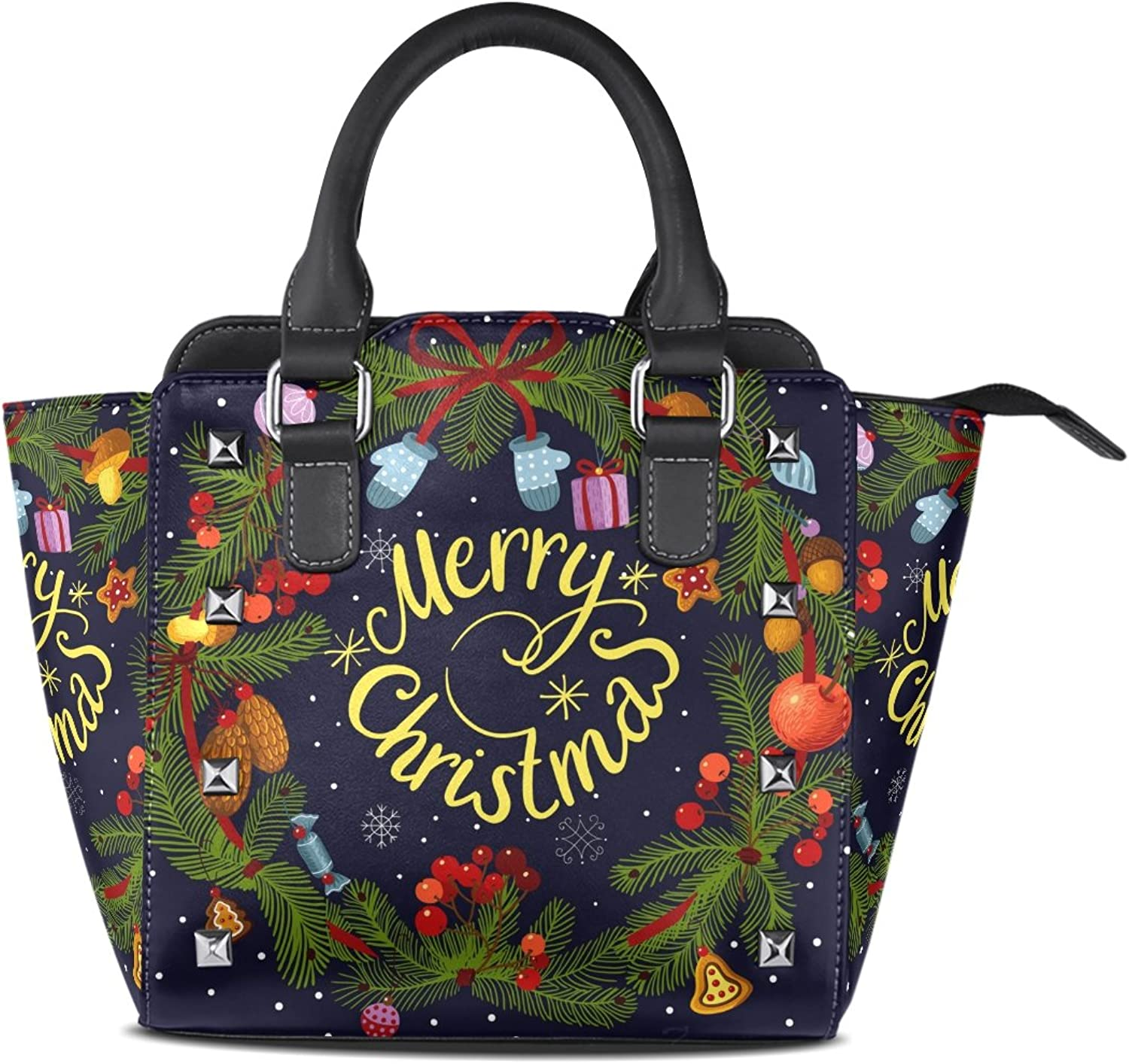My Little Nest Women's Top Handle Satchel Handbag Merry Christmas Wreath with Decorations Squirrel Ladies PU Leather Shoulder Bag Crossbody Bag