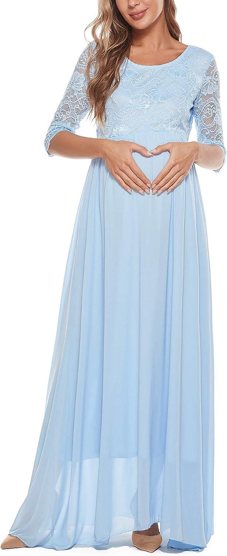 Vivinew Maternity Dress Lace Short Sleeve Maternity Maxi Dress for Baby Shower Maternity Photoshoot Casual Light Blue