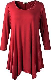 LARACE Women Plus Size 3/4 Sleeve Tunic Tops Loose Basic Shirt