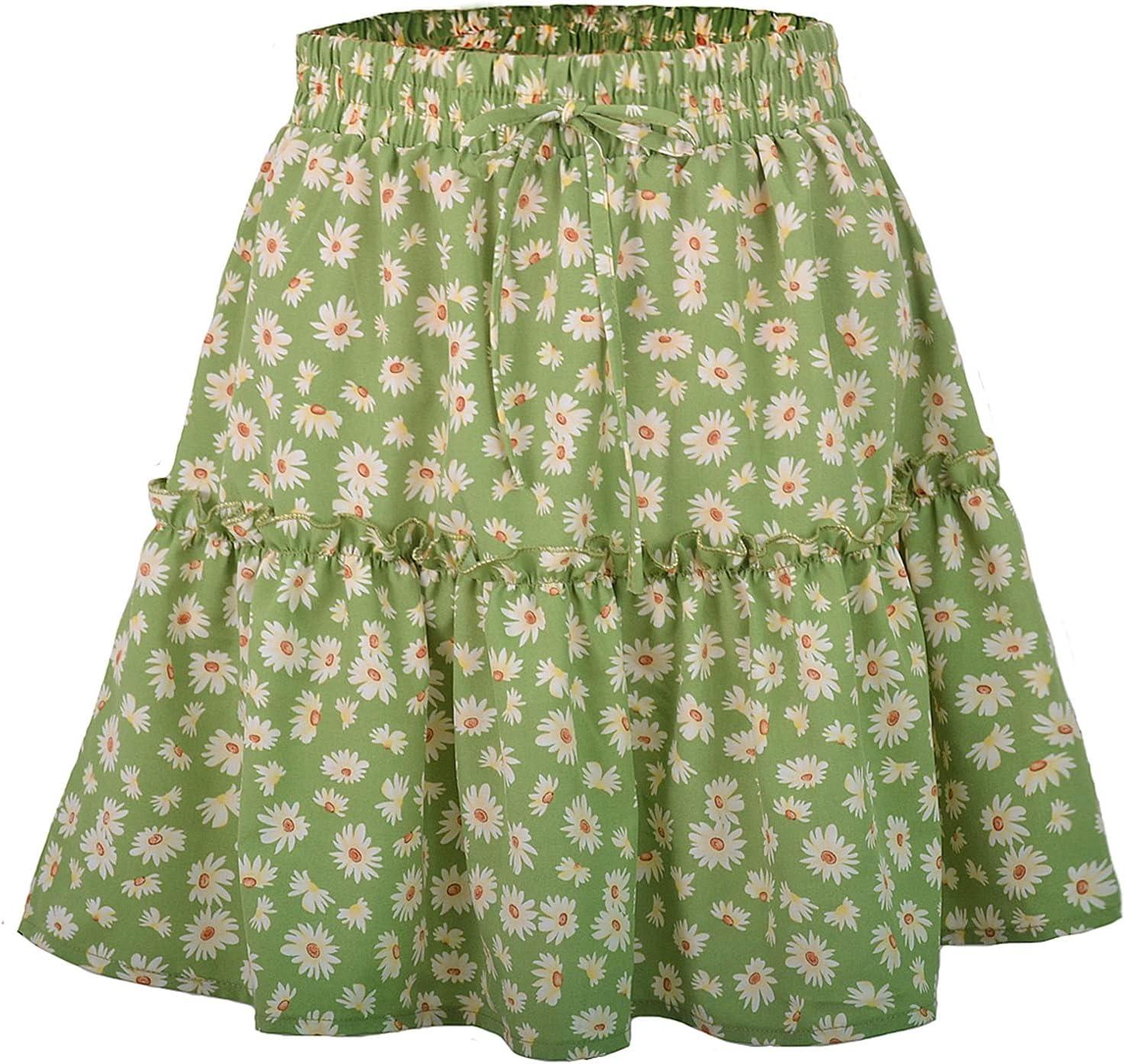 WEHOMEO Women's Pleated Floral Short Skirt Summer Casual High Waist Tennis Skirt,Green,M
