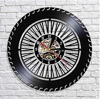 GYJCD Reloj de Pared de Rueda de Rendimiento Reloj de Rueda de automóvil Antiguo Servicio de Venta de automóviles reparación de Garaje Logotipo de Disco de Vinilo Reloj de Pared Decorativo