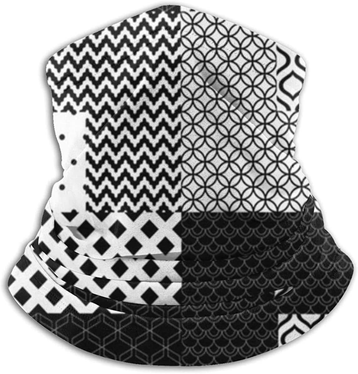 Lastbest Black White Patchwork Quilted Geometric Neck Warmer Multifunction Scarf Hat Neck Gaiter Neck Cap Bala Windproof Neck Heating Wrap Outdoor Sports