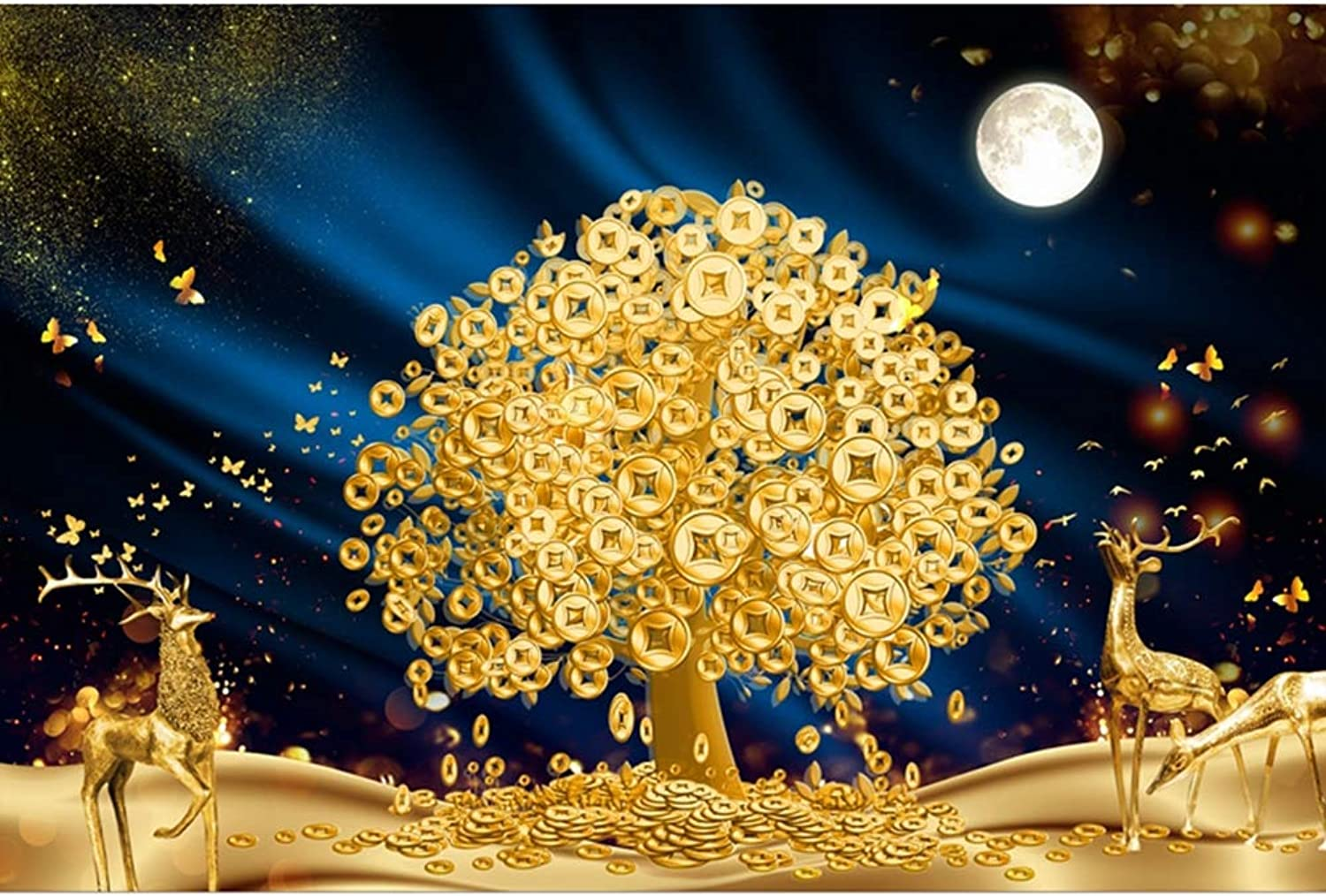 LINGNA Sviluppo di intelligenza dei Bambini Adulti Puzzle di Legno Immagine Albero d'oro DIY Assemblaggio divertimento Decompression gioco Home Art Decoration,1500PIECES