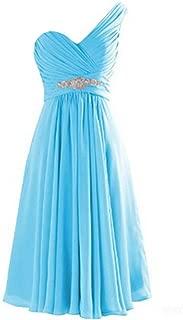 TalinaDress Womens Short Chiffon one Shoulder Sweetheart Bridesmaid Dress Prom Gown E273LF