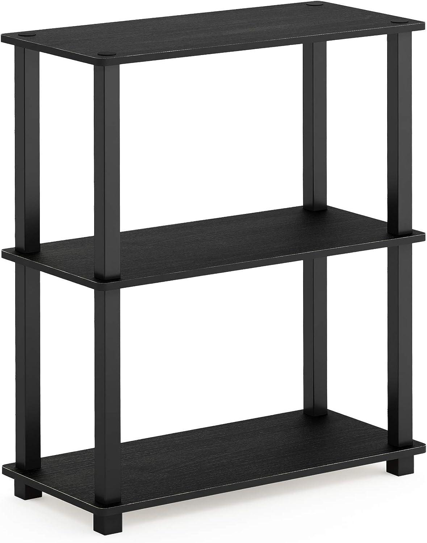 Furinno 18025AM BK Turn-S-Tube 3-Tier Compact Multipurpose Shelf Display Rack, Square, Americano Black