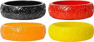 Sourpuss Hawaiian Style Tiki Bracelets - Set of FOUR - Black, Red, Orange and Yellow Clothing