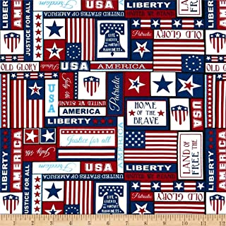 United We Stand Patriotic Red/White/Blue, Quilting Fabric by the Yard