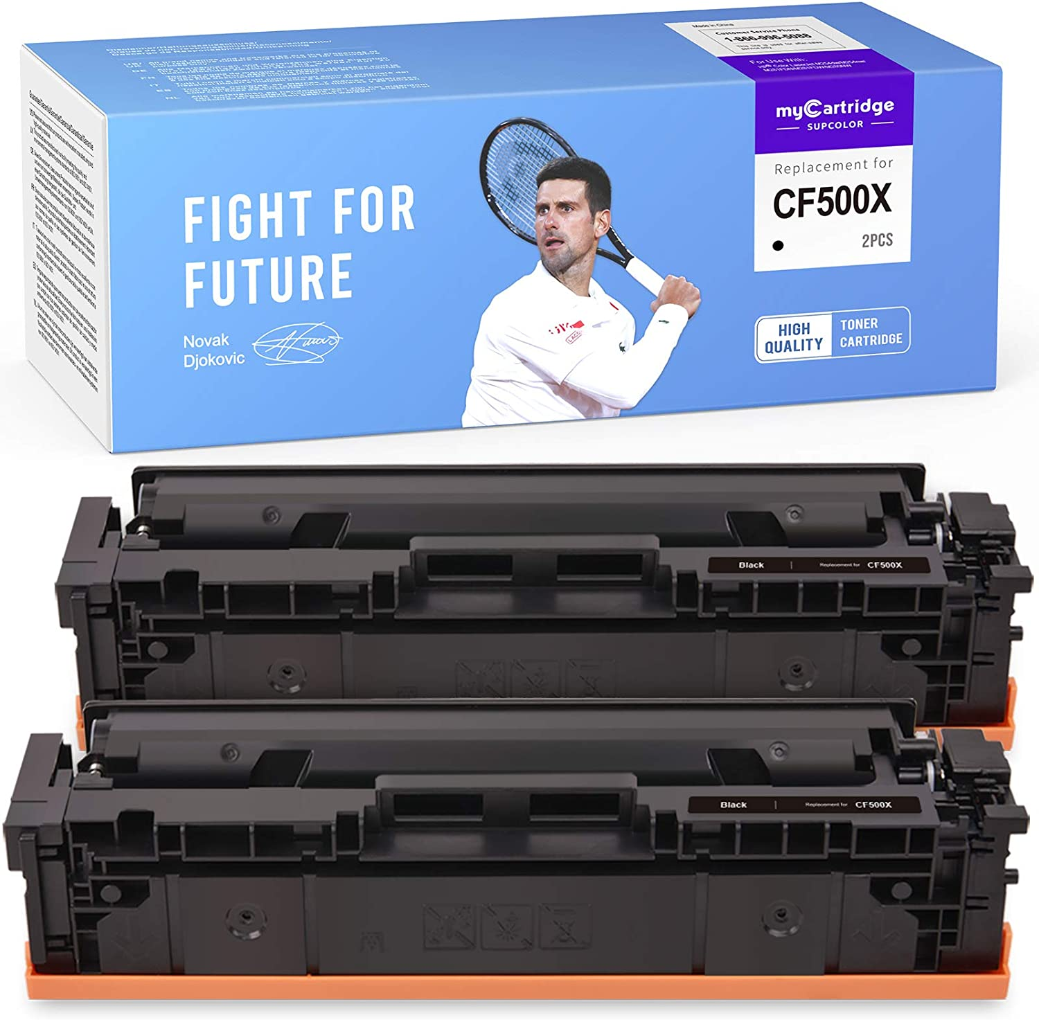 myCartridge SUPCOLOR Compatible Toner Cartridge Replacement for HP 202X 202A CF500X CF500A High Yield for Laserjet Pro MFP M281fdw M281cdw M281dw M281 M254dw M280nw (2 Black)
