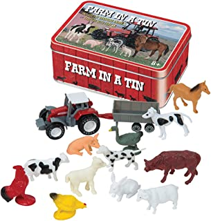 Farm In a Tin Novelty Set with Rooster, Cow, Horse, Sheep and More