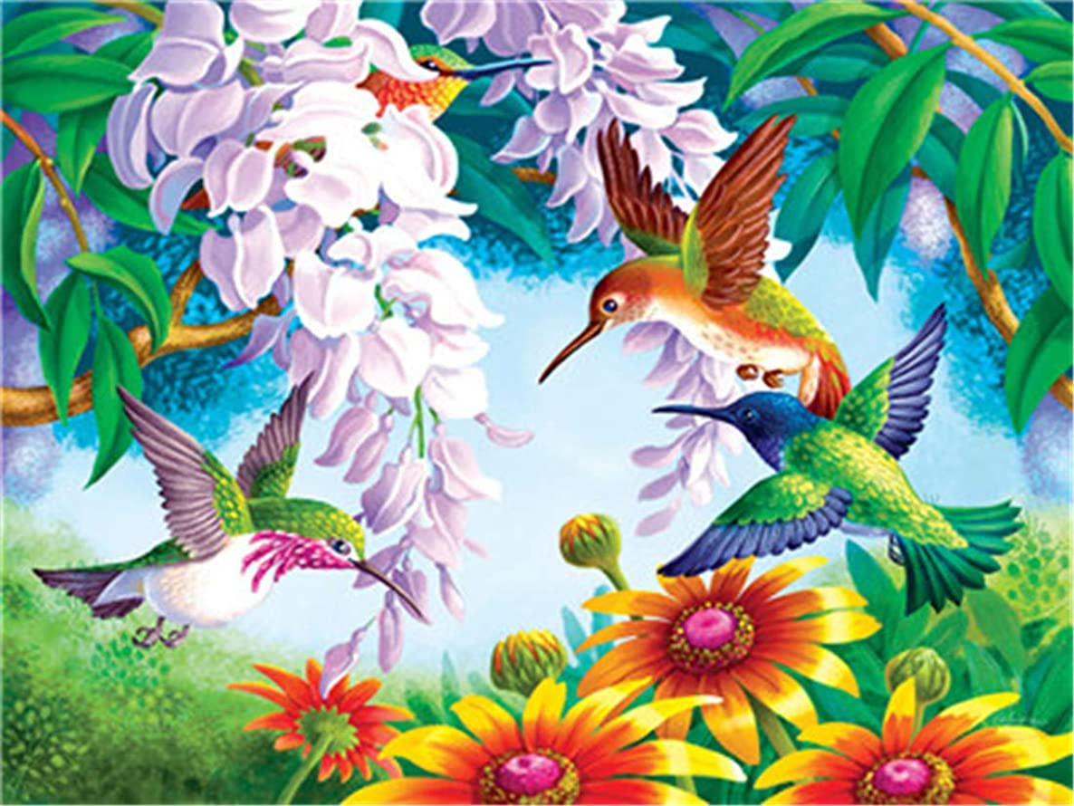 DIY Oil Painting Paint by Number Kit for Kids Adults Beginner 16x20 inch - Hummingbird Sucking Nectar, Drawing with Brushes Christmas Decor Decorations Gifts (Frame)