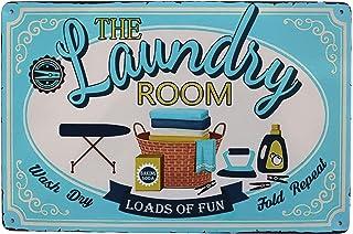 Hioni Plaque en métal vintage The Laundry Room - Décoration murale