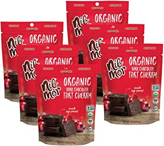 Nib Mor Organic Dark Chocolate Snacking Bites with 72% Cacao - Christmas, Holiday Chocolates for Gifting - Tart Cherries, 3.26 Ounce (Pack of 6)