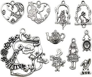Youdiyla 48pcs Alice in Wonderland Fairy Charms Collection, Alice Girl Princess Rabbit Teapot Clock Metal Charm Pendants (Silver HM186)