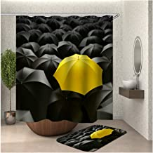 Epinki Polyester Shower Curtain Decorative Bathroom Accessories Colorful Yellow Umbrella Bathroom Curtain with 12 Hooks 16...