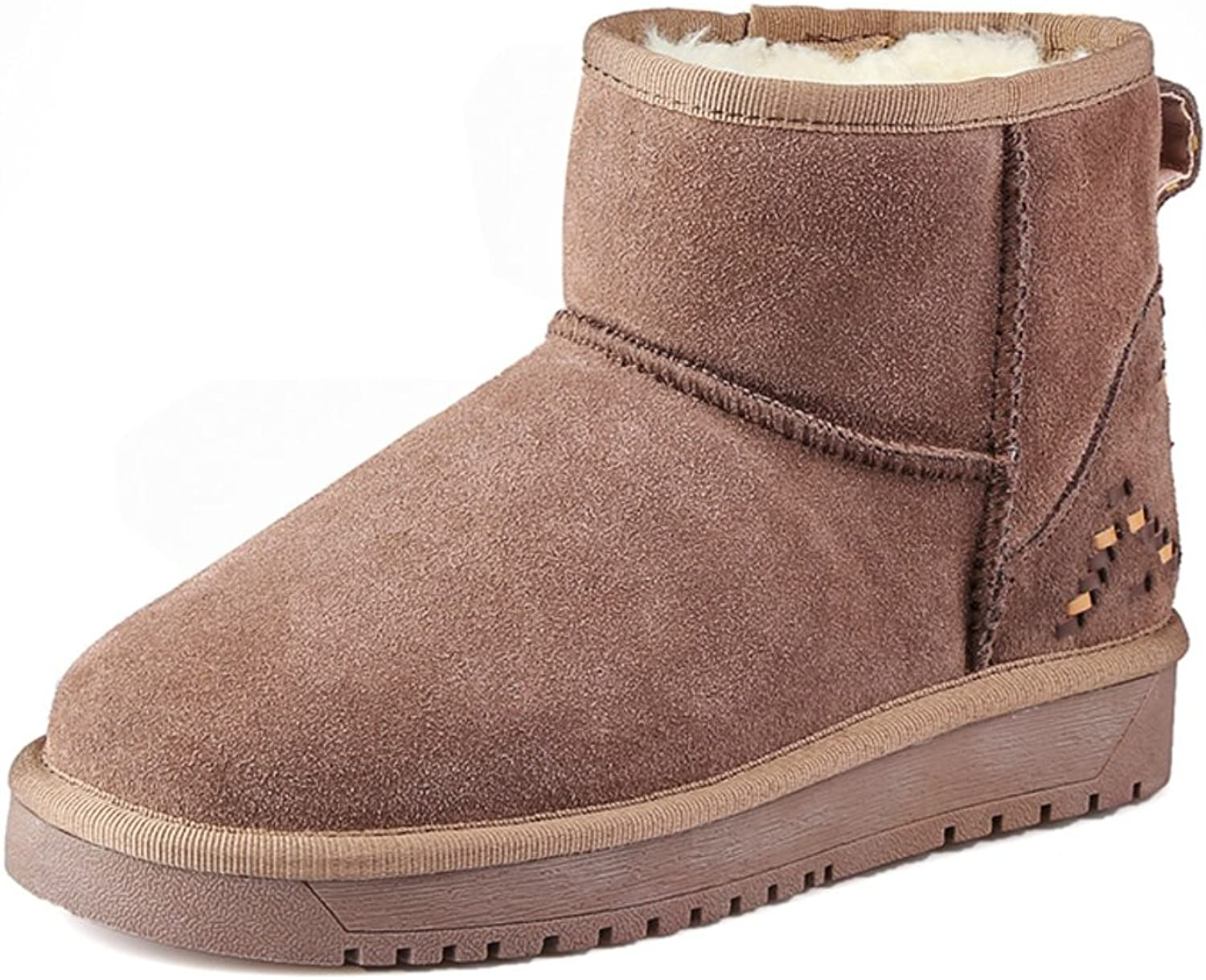 Huhuj It Falls and Winter Full Leather Flat Boots Warm Cashmere Round Leather Snow Boots Slip