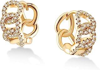 VACRONA Cubic Zirconia Huggie Earrings 14k Gold Plated Tiny Cuff Earrings Small Huggie Hoop Earrings Simple Lightweight Ho...