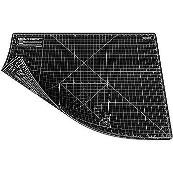 ANSIO Schneidematte selbstheilend A2 doppelseitig 5 Lagen zum Sitzen, Nähen - Imperial/Metrisch 59 x 44 cm 22,5 x 17 Zoll - Schwarz